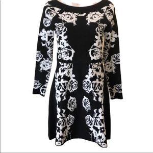 INC floral metallic flattering dress